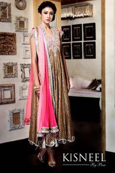 Bronze Anarkali with pink dupatta