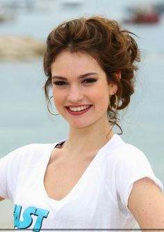 Lily James Red Brown Hair Updo