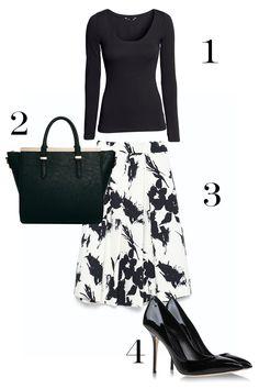 1. H&M Jersey Top, $12.95; hm.com. 2. ASOS Handheld Bag with Metal Bar and Winged Detail, $66.33; asos.com. 3. Zara Floral Print Pleated Skirt, $79.90; zara.com. 4. Dolce & Gabbana Closed Toe Heels, $695; shoescribe.com.