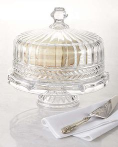 Prestine look -- crystal cake tray with silver tool; blogged by Ahh, The Pretty Things