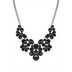 Black Stone Gunmetal Statement Necklace ($9.44) ❤ liked on Polyvore featuring jewelry, necklaces, bib statement necklace, black jewelry, stone jewellery, gun metal jewelry and kohl jewelry