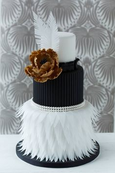 Feather Cake in Black and White with Peony flower