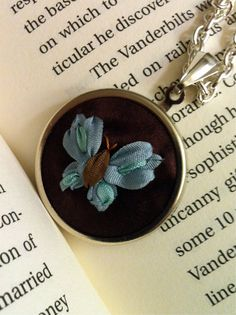 Hand Embroidered Jewelry Blue and Brown Butterfly, Silk Ribbon Embroidery by BeanTown Embroidery