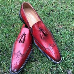 Handmade Red Moccasin Slipper Tussle Leather Dress Formal Office Shoes Source by Office Dresses Latest Mens Fashion, Mens Fashion Shoes, Shoes Men, Men's Shoes, Men Boots, Shoes Style, Men's Style, Men's Fashion, High Ankle Boots