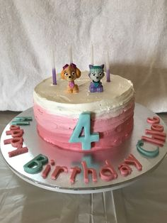 Paw Patrol Pink Ombre Cake. Skye and Everest. 4th Birthday