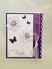 "Card Kit Set Of 4 Stampin Up Flower Shop Butterflies Embossed ""Thanks So Much"""