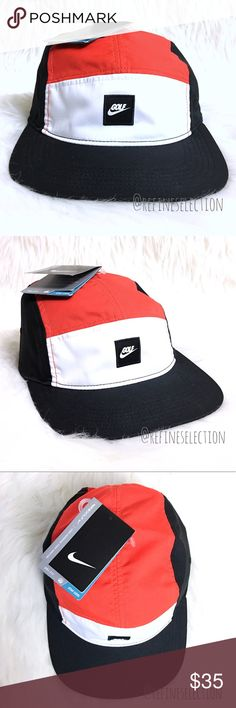 Nike Golf Dri Fit 5 Panel Strapback Hat Cap Brand new with tags, Adult Unisex, One Size. This Nike Golf Dri Fit 5 Panel Strapback Hat Cap comes in an eyecatching red, white and black color combination. Has the Golf logo in black and white on the front. Love the lightweight Dri-Fit material, which keeps you cool and dry when you need it most. Adjustable velcro strapback for the perfect fit. Love the trim detailing inside! Made of 100% Polyester. Nike Accessories Hats