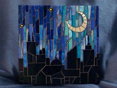 Stained Glass Mosaic City Skyline