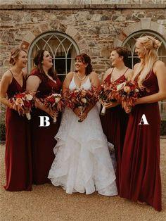 A-line Floor-length Spahetti Straps V-neck Cap-sleeves Burgundy Bridesmaid Dresses, BD1014#bridesmaids #bridesmaiddress #bridesmaiddresses #dressesformaidofhonor #weddingparty #2020bridesmaiddresses