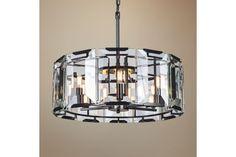 Monaco Glass Drum 26-Inch-W Black Pendant Light - #EU1J734 - Euro Style Lighting