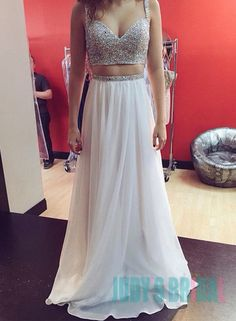 Bling bling two pieces sequins prom evening dresses