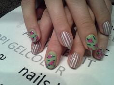 Stripes and flowers manicure