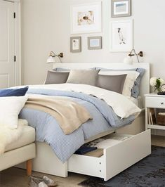 MALM Bed frame, high, w 4 storage boxes, white stained oak veneer ...