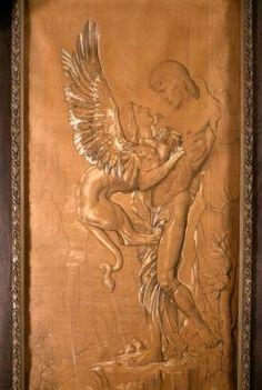 """Gustave Moreau, """"Oedipe et le Sphinx"""", carton, Paris, musée Gustave Moreau"""