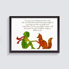 little prince art Fox Quote Le Petit Prince The little prince Fox  prince room decorGiclee Print Wall Decor baby room baby shower gift {57}