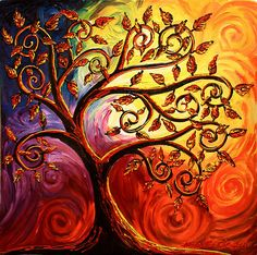 The Tree of Life by Abstract D'Oyley.  These leaves make me think of copper leaves.