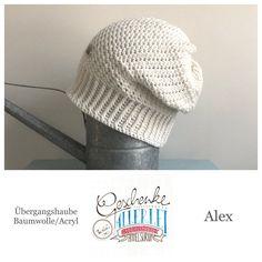 Tunella's Geschenkeallerlei präsentiert: das ist Alex, eine geniale gehäkelte Haube/Mütze aus einer Baumwolle/Acryl-Mischung - Du kannst dich warm anziehen, dank sorgfältigem Entwurf, liebevoller Handarbeit und deinem fantastischen Geschmack wirst du umwerfend aussehen. #TunellasGeschenkeallerlei #Häkelei #drumherum #Beanie #Haube #Mütze #handgemacht #Geschenk #Alex