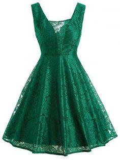 RoseGal.com - RoseGal Retro Lace Fit and Flare Dress - AdoreWe.com