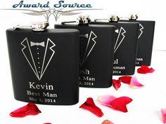 Groomsmen Gift, 3 Personalized Engraved Tuxedo Flasks, Wedding Party Gifts, Gifts for Groomsmen, Wedding Flask Wedding Attendant Gifts, Groomsman Gifts, Party Gifts, Groomsmen, Wedding Stuff, Wedding Ideas, Tuxedo Wedding, Flasks, Etsy