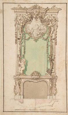 Design for Mantelpiece and Elaborate Overmantel Anonymous, Italian, first half of the 18th century, Neapolitan / MET