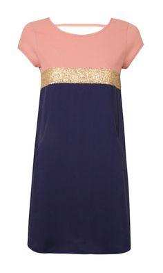 Suncoo Colour Block Sequin Stripe Dress