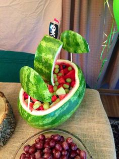 Watermelon ship at a Peter Pan Birthday Party!  See more party planning ideas at CatchMyParty.com!