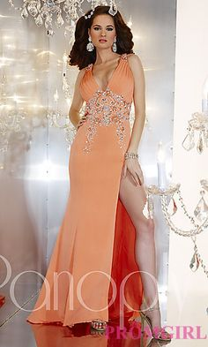Full Length V-Neck Gown by Panoply at PromGirl.com
