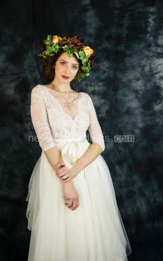 Long Sleeve Tulle&Lace&Satin Dress With Beading&Sequins&Appliques&Sash Ribbon&Zipper