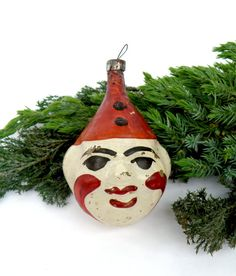 Clown Head Face Vintage Christmas Glass Ornaments Tree Decoration Figurine Harlequin Circus blown Bauble Russian Toy Retro Xmas Soviet 1950s