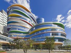 Designed by Pelli Clarke Pelli Architects, the new Buerger Center at the Children's Hospital of Philadelphia