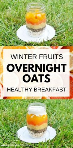 Healthy breakfast ideas with orange overnight oats cold oatmeal recipe. Overnight oats with chia seeds and with coconut milk. Make without yogurt for vegan breakfast, or with almond milk. Fruits that go well with orange. Clean Eating Oatmeal, Healthy Oatmeal Breakfast, Clean Eating Breakfast, Healthy Breakfast Recipes, Breakfast Ideas, Eating Healthy, Healthy Food, Healthy Recipes, Overnight Breakfast