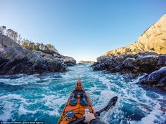 Tomasz Furmanek, who lives in Bergen, Norway, uses a GoPro and a small Sony compact camera on the front of his kayak to take the spectacular first-person pictures. Kayak Camping, Canoe And Kayak, Kayak Fishing, Kayaking Tips, Whitewater Kayaking, Canoeing, Lofoten, Outdoor Life, Outdoor Camping