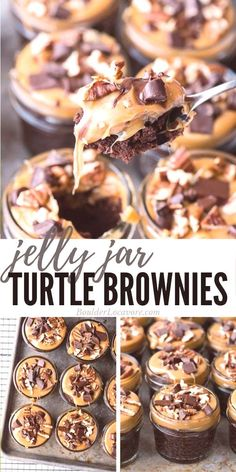 Jelly Jar Chocolate Turtle Brownies Fudgy chocolate brownies topped with gooey caramel pecans and more chocolate A box mix hack cooked in jelly jars Easy and delicious Mason Jar Desserts, Mason Jar Meals, Meals In A Jar, Köstliche Desserts, Delicious Desserts, Dessert Recipes, Jar Recipes, Mason Jar Cakes, Plated Desserts