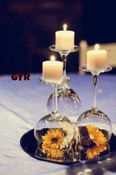 Wine glasses & candle idea