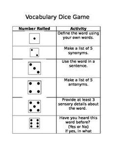 Free! Vocabulary Dice Game: