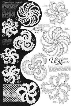 Photo from album Дуплет-Ирландские кружева 6 on Yandex.Disk - - View album on Yandex. Irish Crochet Patterns, Crochet Symbols, Crochet Motifs, Freeform Crochet, Crochet Diagram, Crochet Squares, Crochet Stitches, Irish Crochet Charts, Crochet Leaves