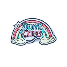 Eye Candy Designs Don't Care Patch (31 BRL) ❤ liked on Polyvore featuring accessories and pin