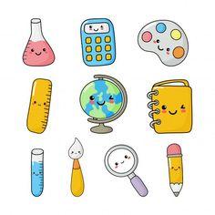 Set of cute school supplies cute kawaii style. Mini Drawings, Cute Easy Drawings, Cute Kawaii Drawings, Kawaii Art, Doodle Drawings, Kawaii Style, Stickers Kawaii, Cute Stickers, Doodles Kawaii