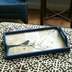 Recycled a thrift store tray. Used old book pages and mod podge. Then free handed bird on a branch.