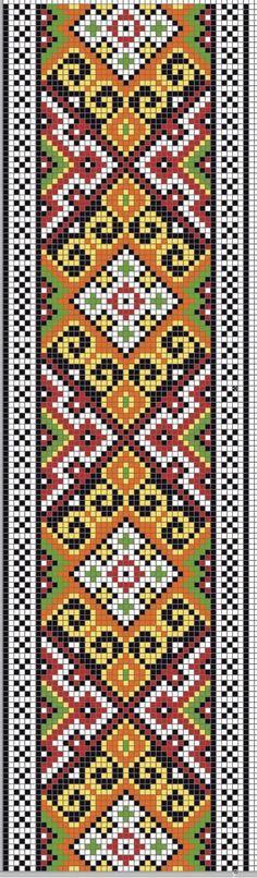 Este es un bonito patrón de una cenefa para tejer a dos agujas o palillos. Es de estilo étnico o indio y está dibujada con unos colores tie...