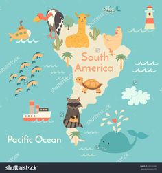 Animals World Map, South America. South America Map For Children,Kids. South American Animals Poster.South America Continent Animals, Sea Life.South America Poster.Vector Illustration,Preschool,Oceans - 338164286 : Shutterstock