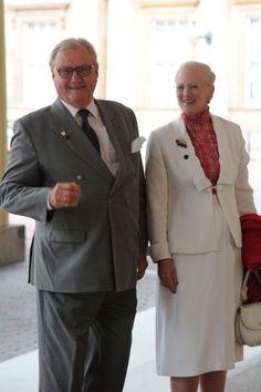 Queen Margrethe and Prince Henrick of Denmark arrive at a pre Olympic dinner hosted by Queen Elizabeth