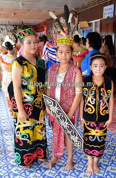 Sarawakian ethnic Iban kids in traditional costumes for the Gawai Celebrations. Borneo, Cool Places To Visit, Ethnic, Cover Up, Sari, Kids, Children, Costumes, Traditional