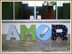 Sposata!: Ideias DIY | Passo a passo - Letras decorativas de papelão forradas com tecido