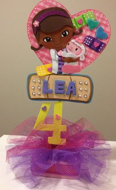 Doc McStuffins Centerpiece Cake Topper by SweetBellaLuna on Etsy, $28.00