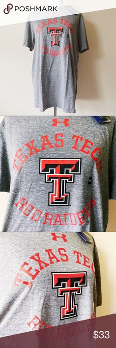 """Under Armour Texas Tech Red Raiders T-Shirt Shirt Brand new, with tags  UNDER ARMOUR TEXAS TECH RED RAIDERS T-SHIRT SHIRT  • Mens size large • Loose fit • Tagless • Gray shirt • Red, White, & Black detail • """"TEXAS TECH RED RAIDERS"""" across chest • Texas Tech TT logo • Under Armour logo • Material prevents growth of odor causing microbes • HeatGear technology wicks sweat from your body to keep you cool and dry Under Armour Shirts Tees - Short Sleeve"""