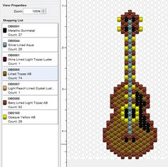 Peyote Beading Patterns, Bead Loom Patterns, Loom Beading, Cross Stitch Patterns, Beading Projects, Beading Tutorials, Guitar Patterns, Beaded Banners, Beaded Ornaments