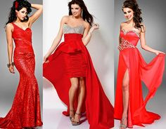 If you want to slip into something less traditional for the night, go for bold cuts and deep shades of red.