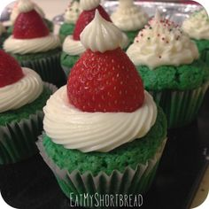 Strawberry Santa Hat Red (or Green!) Velvet Cupcakes with Cream Cheese Frosting -- keep it classic, or add a little Grinchmas recipe to your holiday