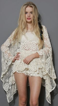 See more Boho Day Floral Crochet Poncho